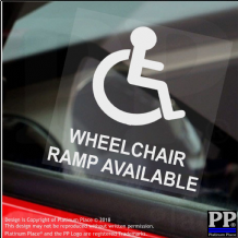 1 x Wheelchair Ramp Available-Window Sticker-Sign,Car,Warning,Notice,Logo,Disabled,Disability,Badge